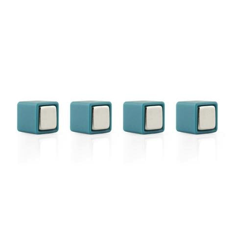 Color Cube Plastic coated Magnets BLUE - set of 4