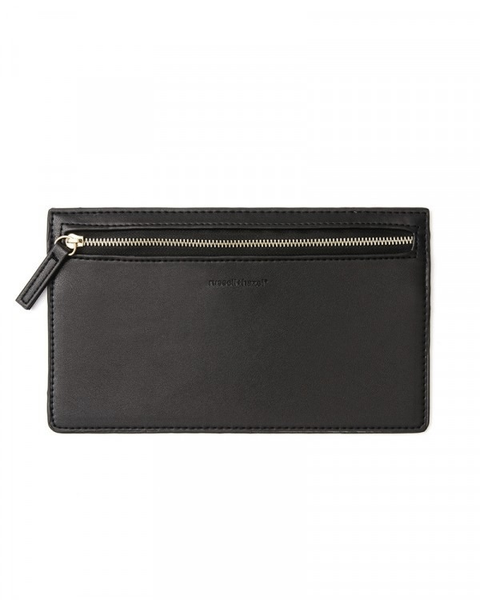 BLACK VEGAN LEATHER PENCIL CASE