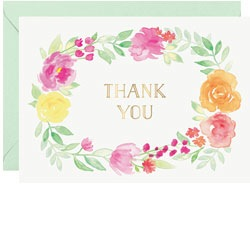 Thank You Floral Wreath Foil