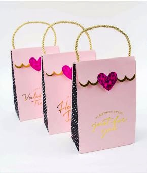 Brushy Valentine Holographic Foil Heart Clutch Gift Bags - set of 3