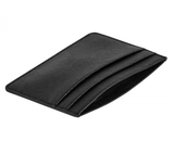 TEXTURED LEATHER CARD HOLDER: BLACK