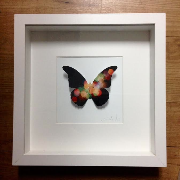 Large Framed Butterfly - black with color dots
