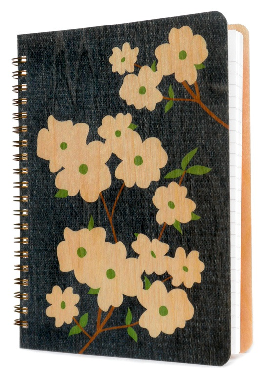 Wooden Journal - Denim Dogwood