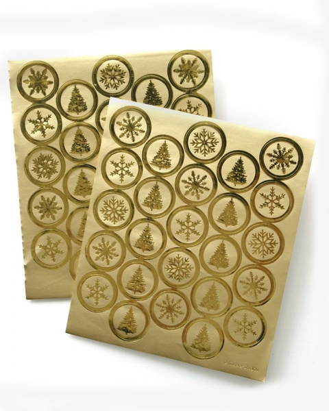 Gold Foil Holiday Envelope Seals - 50 Count