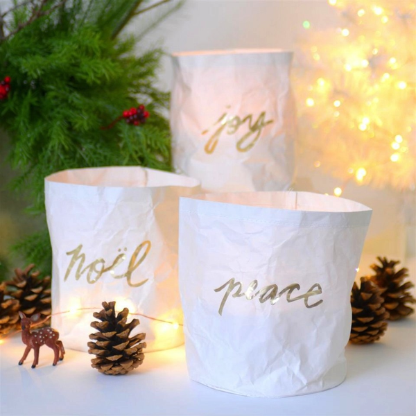 Peace, Joy, Noel Paper Luminary Set