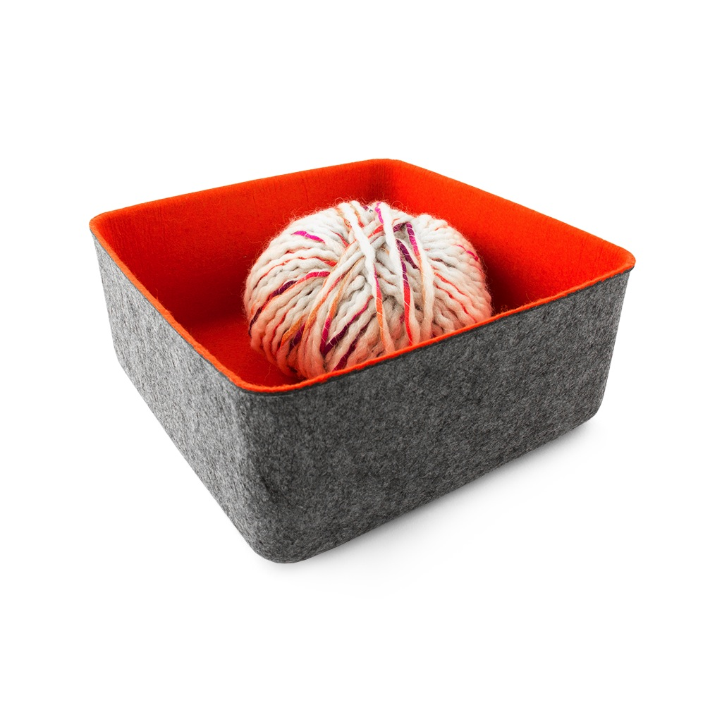 Felt-Like-It 2 tone felt bin - grey/orange - 9x9""