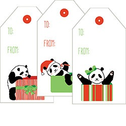 Panda Claus Sticker Tag Set of 19