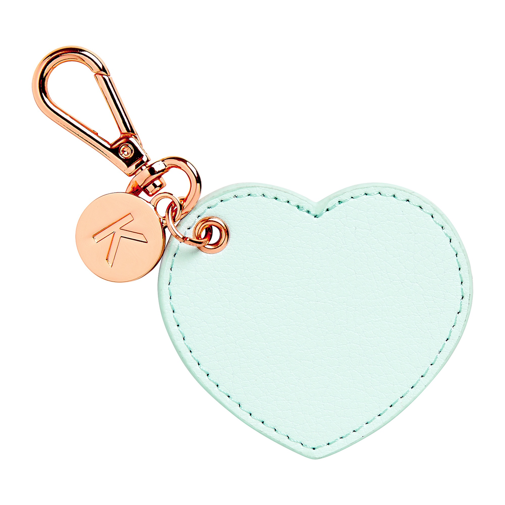 kikki k - LEATHER HEART KEY RING: MINT