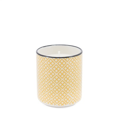Kiri Soy Wax Filled Porcelain Votive Candle Cup - Yellow with Black Trim