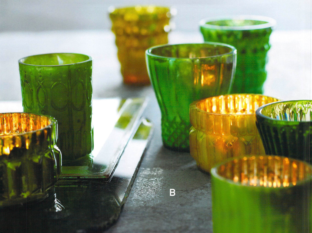 Shimmering Mercury Tealight Holder - Green