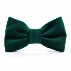 Forest Green Velvet Dog Bow Tie - Standard