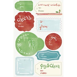 Watercolor Holiday Die-Cut Gift Tags