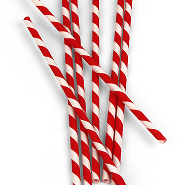 XL Paper Straws -Red Stipes