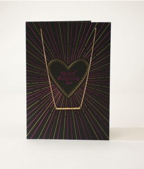 Black & Pink Happy Vday card with necklace