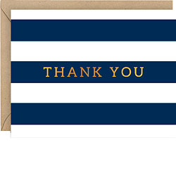 Navy Stripe Foil Thank You Boxed Cards