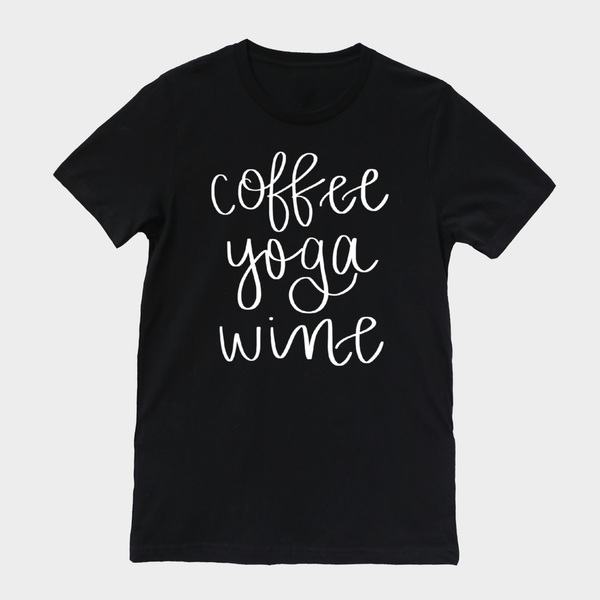 Coffee Yoga Wine Tee - Medium / Black