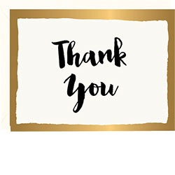 Boxed Thank You Cards - Gold Brush Border Foil