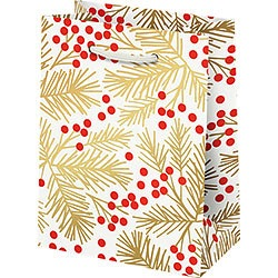 Red Berries & Gold Branch Foil Small Bag