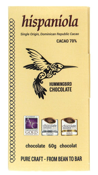 Hummingbird Chocolate Hispaniola 70% ~ 60g ~ Hints of Raisin & Cherry
