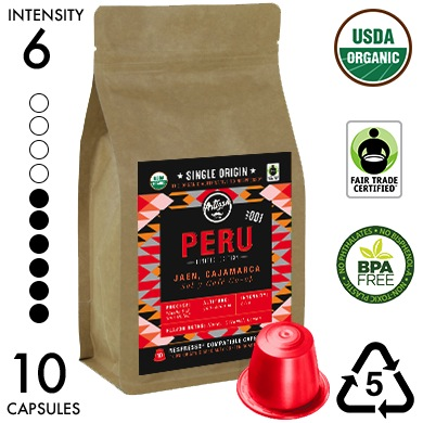 PERU - Limited Edition - Single Origin Recyclable Organic Nespresso Compatible Capsules
