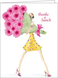 Boxed Cards - Girl With Bouquet Thank You
