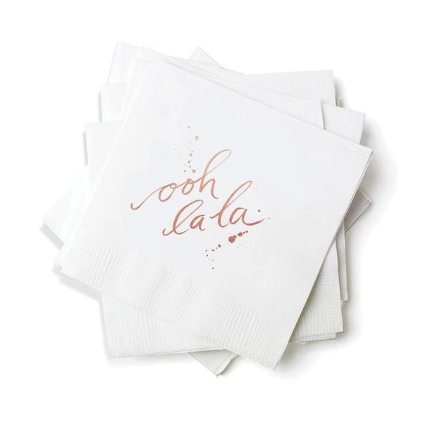 Cocktail Napkins - Ooh La La (White)