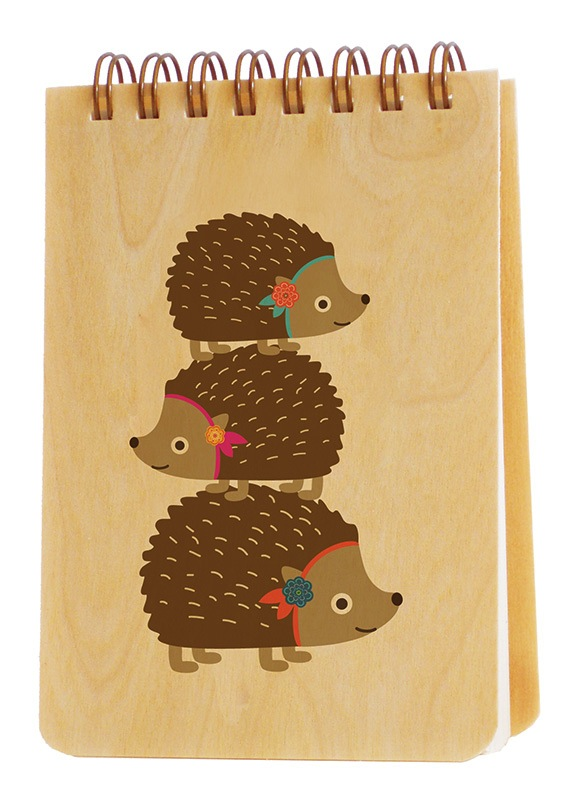 Wooden Jotter - Stacked Hedgehogs
