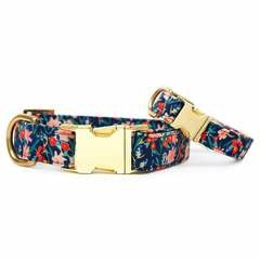 Inky Blooms Dog Collar - S / Rose Gol
