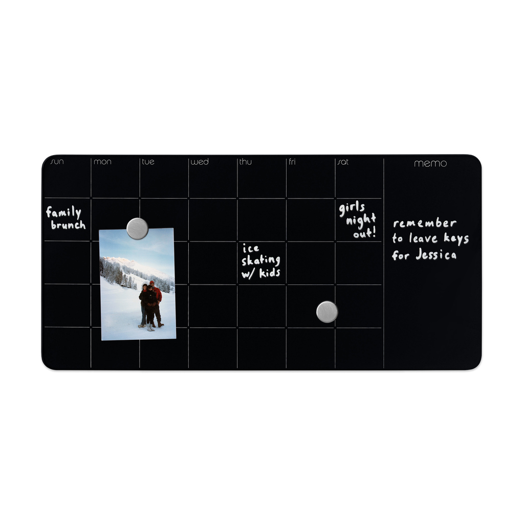 Magnetic Glass Dry-Erase  Monthly Planner + Memo Board - Black