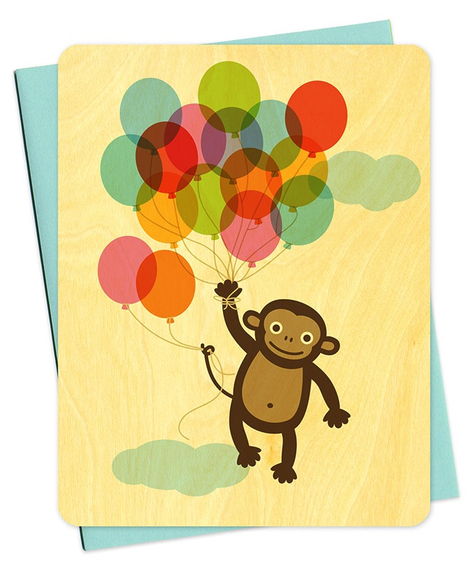 Monkey Balloons -Boxed Cards