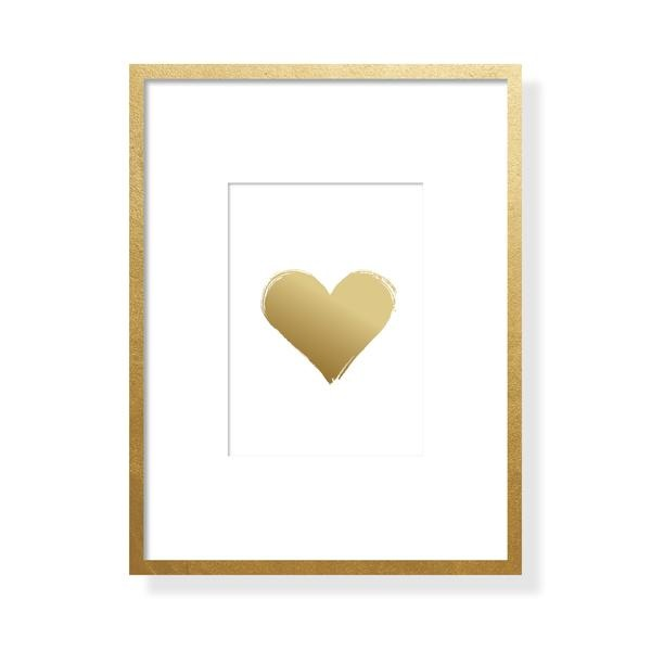 Brushy Heart Art Card - Gold Foil