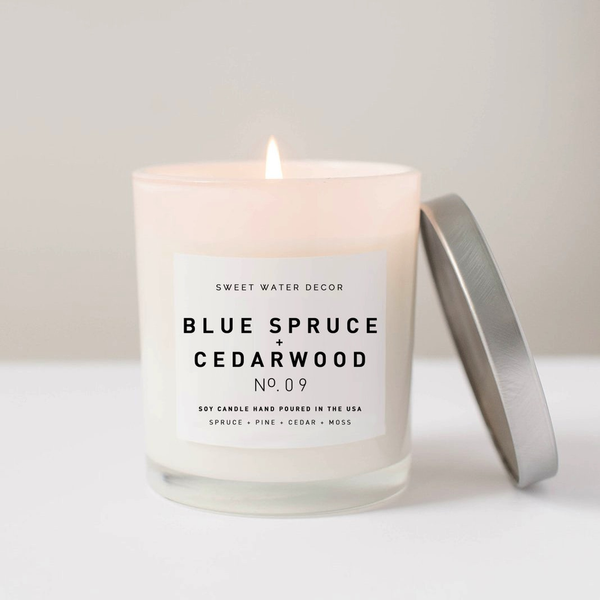 White Jar Candle - Blue Spruce + Cedarwood