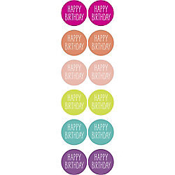 Colorful w/ White Happy Birthday  Stickers