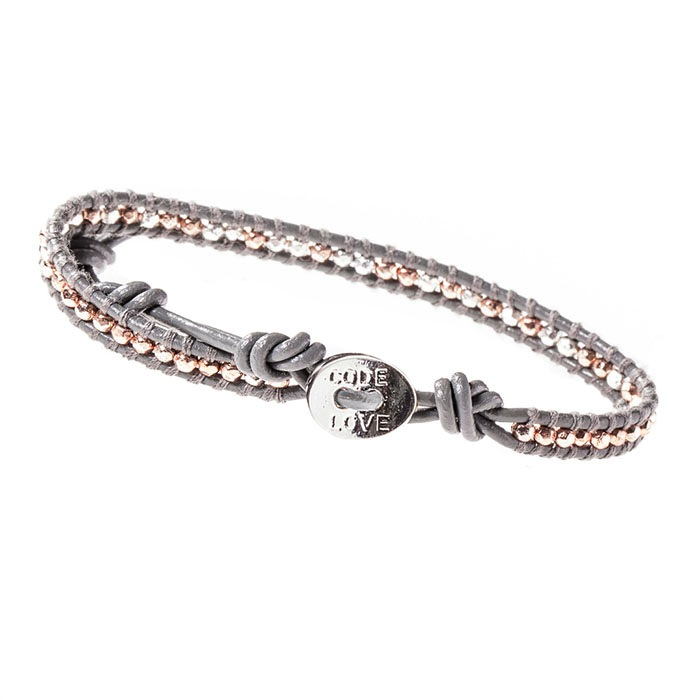 'LOVE' (Grey) Single Wrap Bracelet