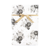 Black & White Floral with Gold Gift Wrap - Includes x3 20x27 sheets