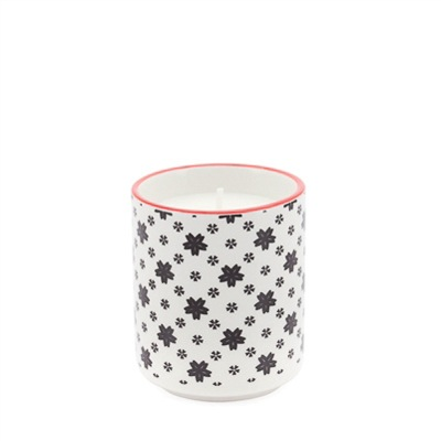 Soy Wax Filled Porcelain Votive Candle Cup - White with Black Daisies