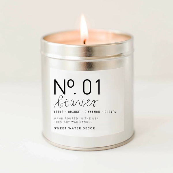 Silver Tin Candle - Leaves