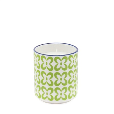 Kiri Soy Wax Filled Porcelain Votive Candle Cup - Pansy