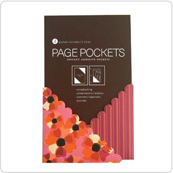 Page Pockets - pink poppy