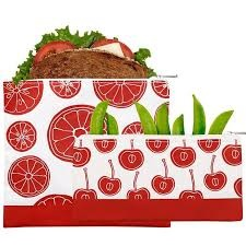 Reusable Zippered Sandwich Bag + Snack Bag 2-Pack Bundle Red Fruit