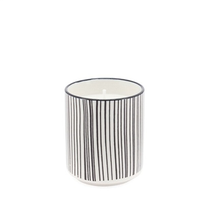 Kiri Soy Wax Filled Porcelain Votive Candle Cup - Black Line