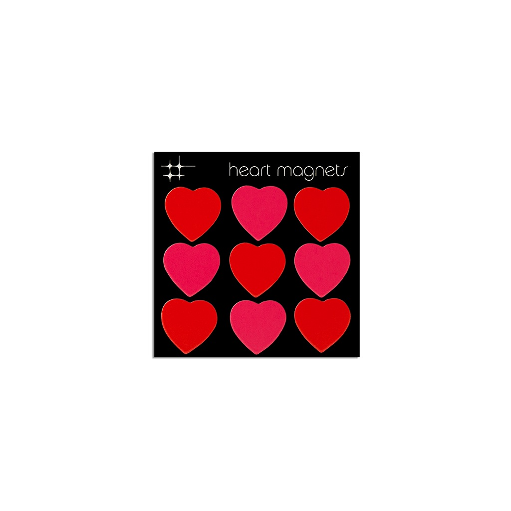 HEART magnets, Pink & Red - 9 pack