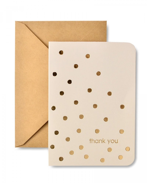 GOLD FOIL DOTS & KRAFT ENVELOPE THANK YOU CARDS