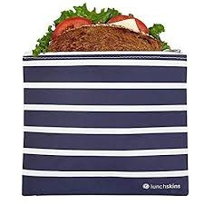 Reusable Zippered Sandwich Bag Navy Stripe