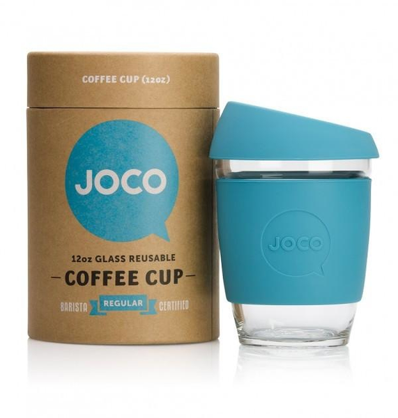 JOCO Reusable Glass Cup - Blue 12oz