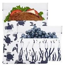 Reusable Sandwich Bag + Snack Bag 2-Pack Bundle Navy Sea Turtle