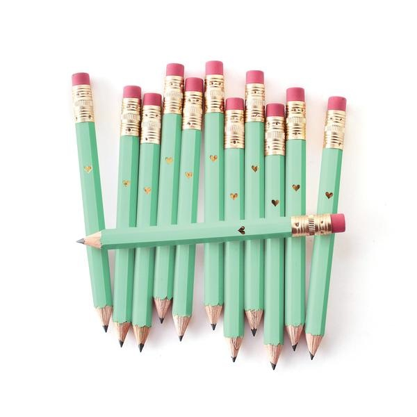 Gold Heart Mini Pencils - Mint