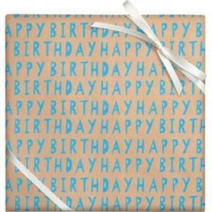 Happy Birthday Blue Glitter Roll Wrap