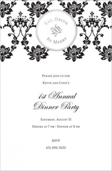 Eat Drink & Be Merry Foil Invitations