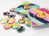 Emoji Button Valentines - Pink Stripe